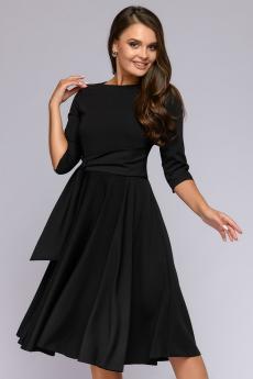 Платье черное миди с декоративной драпировкой 1001 DRESS со скидкой