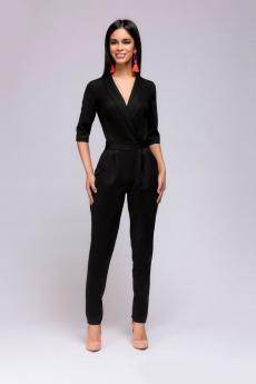 Черный комбинезон с рукавами 1/2 и карманами 1001 DRESS