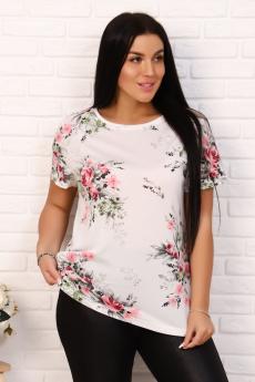 Белая блузка с цветами Натали